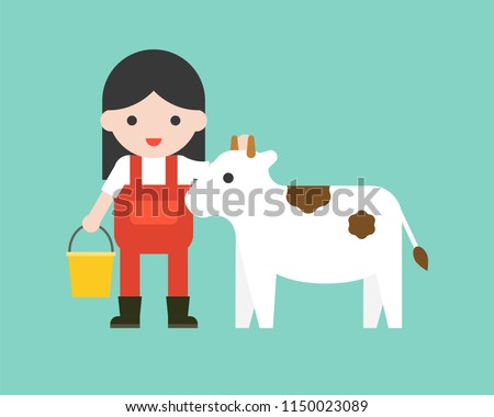 farmer with bucket and calf in flat design