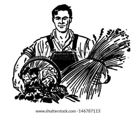 Farmer With Fresh Produce - Retro Clip Art Illustration - stock vector