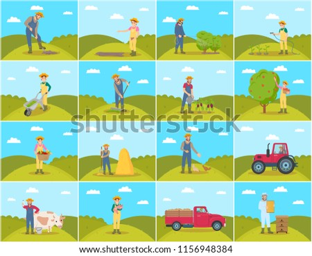 Farmer with pig and cow breeding of domestic animals. Lorry and tractor, seeds sowing by farming woman, Harvesting and compost fertilizing set vector