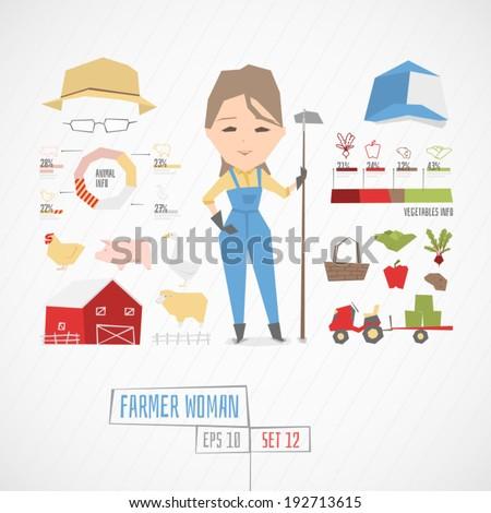 Farmer woman vector illustration
