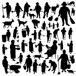 Farmer-women silhouettes set