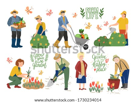 Farmers agricultural workers. Male pulling wheelbarrow with vegetables and holds a box with farm products. Man, woman gardener watering plants, trimming plants. People work in the garden. Flat vector.