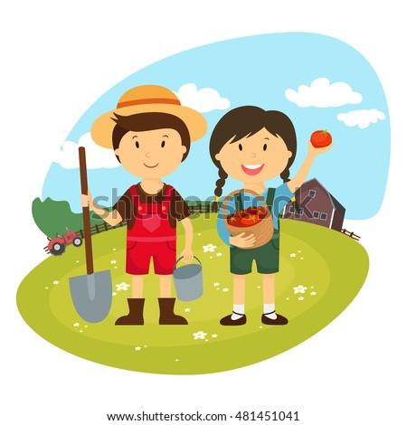 Farmers Cartoon working in farms, gardener characters, Farm fresh
