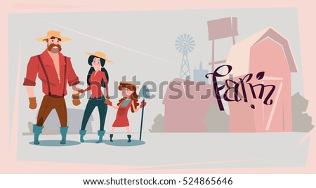 Farmers Family Building Farmland Countryside Landscape Flat Vector Illustration