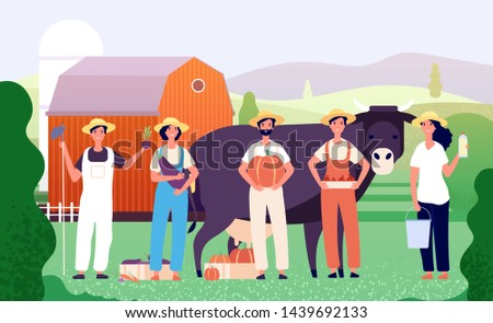 Farmers group. Agricultural workers, farmer team standing together with fresh farm food in field. Agriculture vector cartoon concept with cow and barn