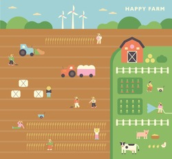 Farmers in large fields and animals on the farm. flat design style minimal vector illustration.