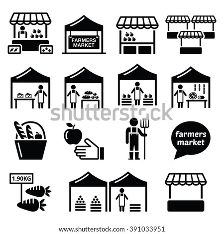 Shutterstock Farmers market, food market with fresh local produce icons set