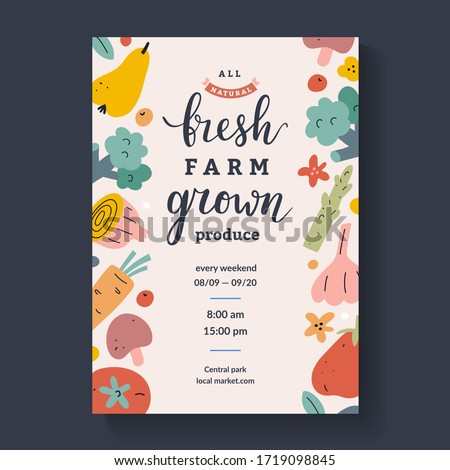 Farmers market lettering poster, calligraphy placard for agricultural fair with illustrations of fruit and vegetables, vector layout, pastel color design, announcement ad for farm marketplace