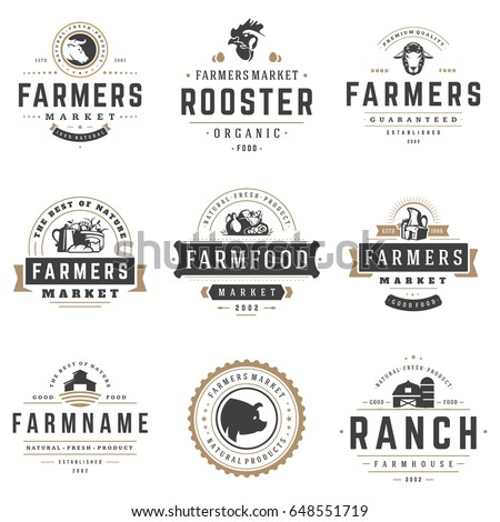 Farmers market logos templates vector objects set. Logotypes or badges design. Trendy retro style illustration, farm natural organic products food, rooster, pig head and ranch silhouettes.
