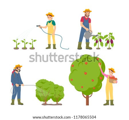 farmers watering plants with