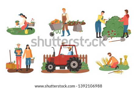 Farmers working on field vector, man and woman harvesting, lady planting, harvest of wheat flat style. Agricultural workers. Bushes cutting carriage loaded with pumpkin