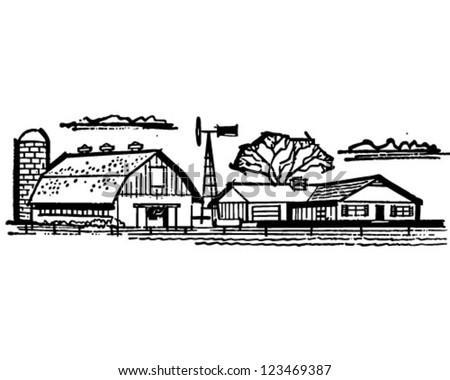 Farmhouse And Barn - Retro Clipart Illustration