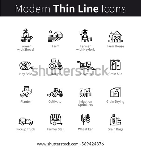 Farming and agriculture life concept. Harvester trucks, tractors, farmers and village farm buildings. Thin black line art icons. Linear style illustrations isolated on white.