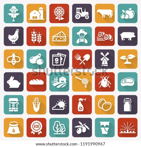Farming and agriculture white flat icons on colorful tile background. Farm and countryside symbols: fruits, vegetables, natural products, fresh meal, animals, plants, equipment. Modern vector set.
