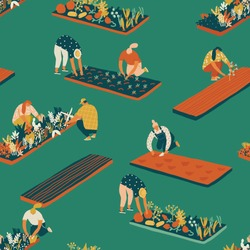 Farming and gardening seamless pattern in vector. Farmer gardener cartoon people growing vegetables and flowers on the farm illustration.