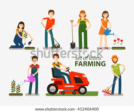 farming and gardening set of