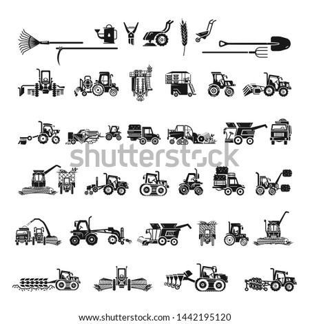 Farming equipment icons set. Simple set of farming equipment vector icons for web design on white background