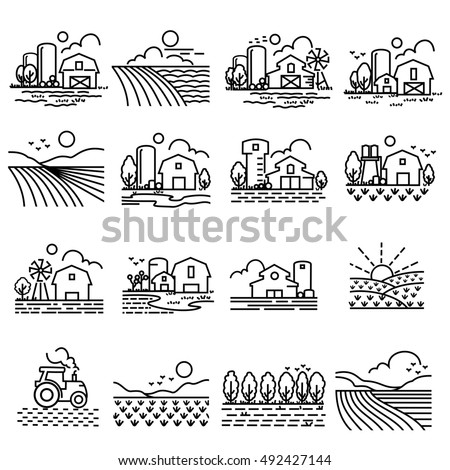 Farming Fields line  Icons Vector