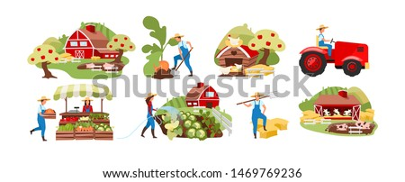 Farming flat vector illustrations set. Agriculture and livestock, poultry farming. Countryside organic farm. Autumn harvest. Farmer working on rural farmland cartoon characters. Farmers market produce