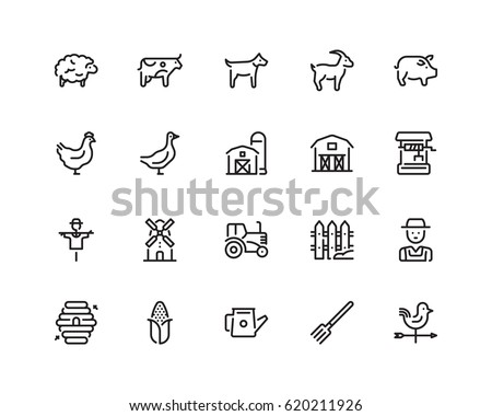 farming icon set  outline style