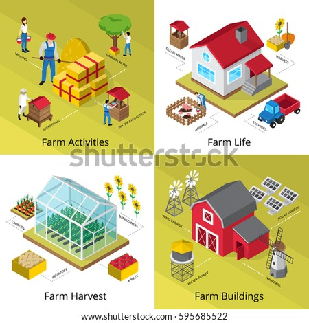 Farming life concept 4 isometric icons square with greenhouse crop harvesting equipment farmhouse facilities isolated vector illustration