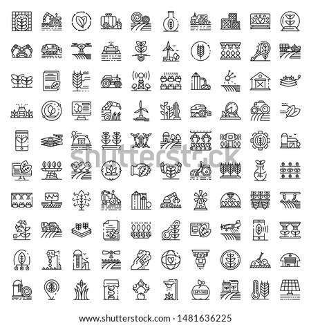 Farming robot icons set. Outline set of farming robot vector icons for web design isolated on white background