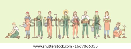 Farming, rural life, gardening, agriculture set concept. Group young of people, men, women, agricultural workers together in village farm. Planting trees, seeding. Rural lifestyle. Simple vector