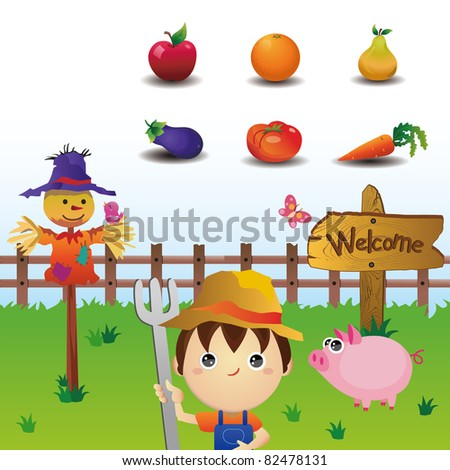 Farmland icons set - stock vector
