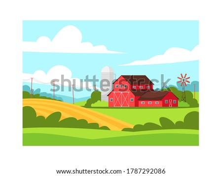 farmland semi flat vector