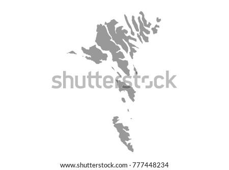 faroe Islands map. High detailed map of faroe Islands on white background. Vector illustration eps 10.