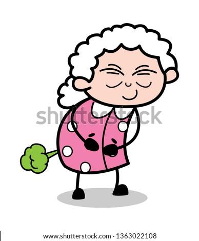 Fart - Old Cartoon Granny Vector Illustration