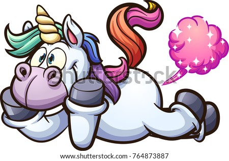Farting cartoon unicorn. Vector clip art illustration with simple gradients. All in a single layer.