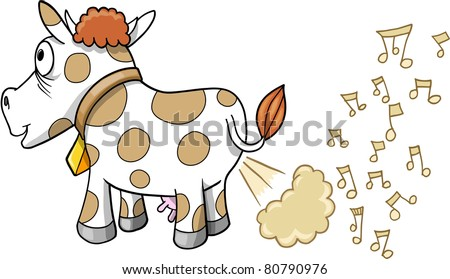 Farting Music Cow Vector Illustration