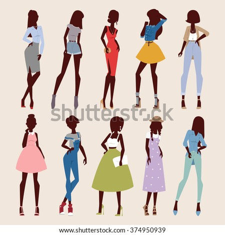 fashion abstract vector girls