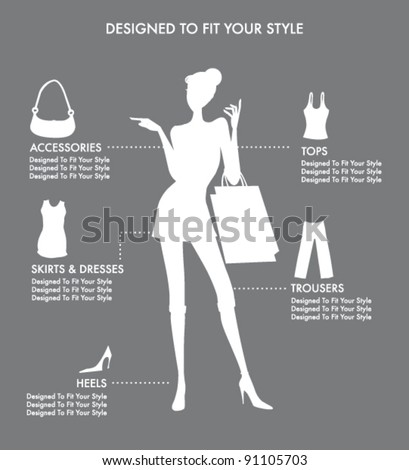 FASHION ACCESSORIES AND CLOTHING ICONS AND ELEMENTS. Editable vector illustration file.