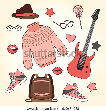 Fashion accessories set. Woman and girl clothes with accessory and shoes, glamour ladies shopping vector clothing fashionable elements