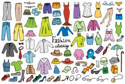 fashion and clothing color icons vector doodle