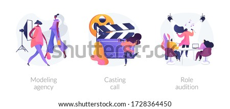 Fashion and movie industry abstract concept vector illustration set. Modeling agency, casting call, role audition, commercial shootings, brand advertising, talent search, interview abstract metaphor.