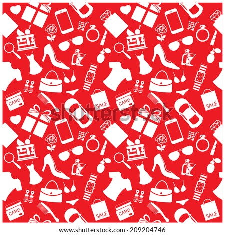 Fashion and women accessories background, pattern
