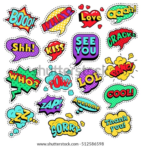 Fashion Badges, Patches, Stickers in Pop Art Comic Speech Bubbles Set with Halftone Dotted Cool Shapes Expressions Bang Zap Lol. Vector Retro Background #512586598