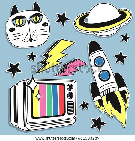 Fashion Badges, Patches, Stickers set with Space, Cat, Old TV,  Planet and Space Ship in Pop Art Comic Style. Vector illustration.