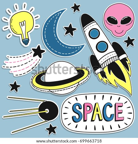 Fashion Badges, Patches, Stickers set with Space, Planet and Space Ship in Pop Art Comic Style. Vector illustration.