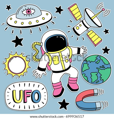Fashion Badges, Patches, Stickers set with Space, Planets, Astronaut and Space Ship in Pop Art Comic Style. Vector illustration.