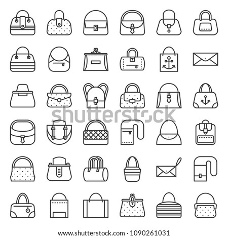 Fashion bag various type such as frame bag, tote, eco bag, barrel, jeans, briefcase, woman wallet, outline icon set 2