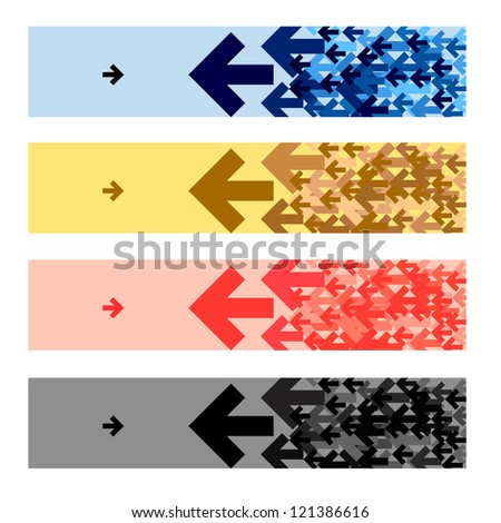 fashion banners with black blue yellow white arrow.
