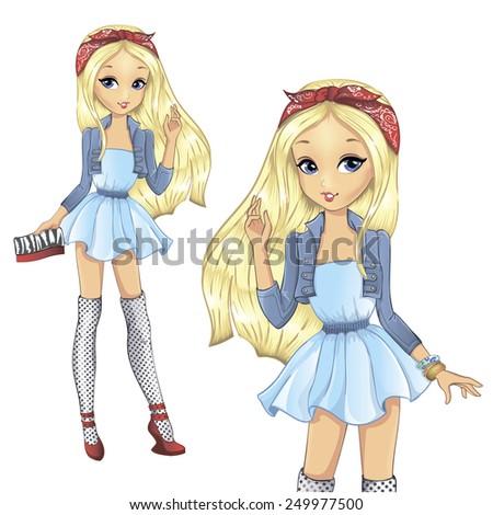 fashion beautiful girl blonde