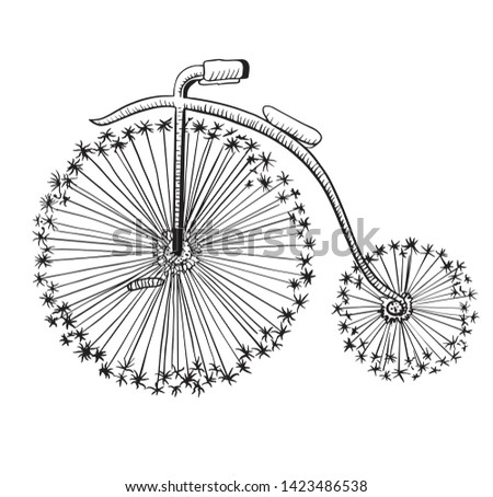 Fashion Bike vector illustration, bycycle wall poster, woman bike, vintage velobike