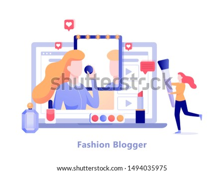 fashion blogger on the computer