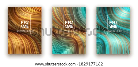 Fashion blue and gold poster lines locks luxury design. Liquid wave shiny lines hair fashion background. Beautiful flowing drape textiles thin threads hair vogue blue and gold threads drape banner set