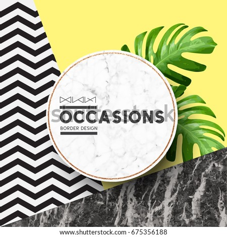 Fashion Border Frame on marble stone and pastel coloured vbackground with geometric details. Vector illustration.